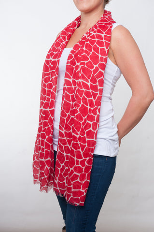 Red and White Giraffe Print Scarf (non-infinity)