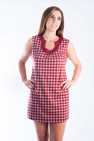 Houndstooth Dress - Crimson
