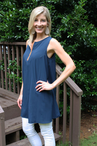 Zipper Dress - Navy & Orange