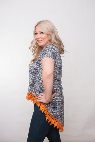 Lace-Up - Navy & Orange Floral