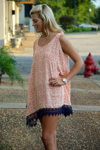 Sleeveless Lace-up - Navy & Orange