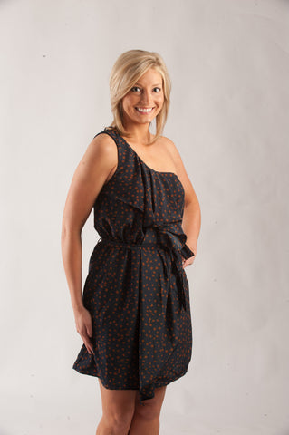 One Shoulder Dot Dress - Navy & Orange