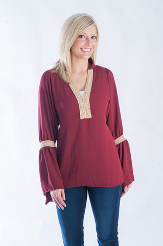 Peasant Blouse - Garnet & Gold