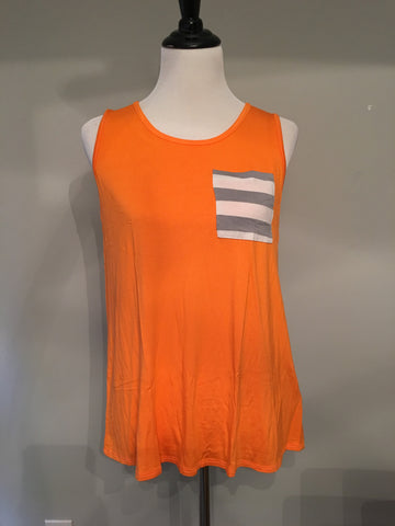 QB Tank - Orange & White