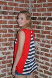 QB Tank - Navy & Red