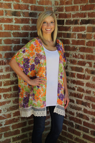 Printed Kimono - Orange & Purple Floral