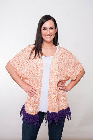 Printed Kimono - Orange w/ Purple Lace