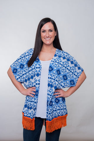Printed Kimono - Royal & Orange