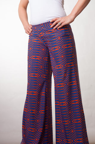 Palazzo Pants - Royal & Orange