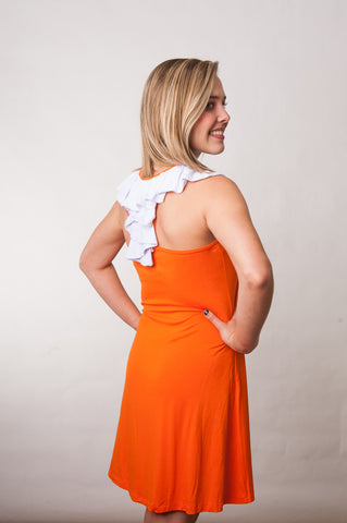 Ruffleback Dress - Orange & White