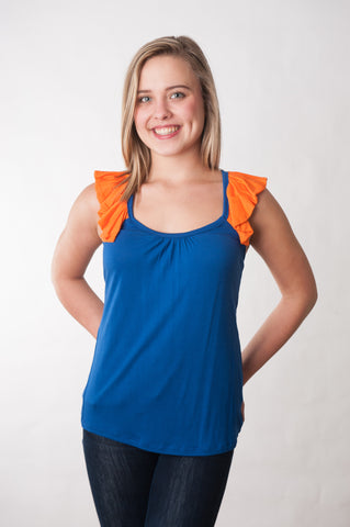Ruffle Back Tank - Royal & Orange