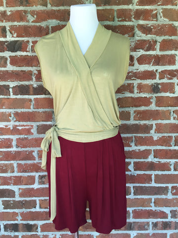 Shorts Jumper - Garnet & Gold