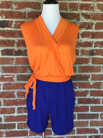 Shorts Jumper - Royal & Orange