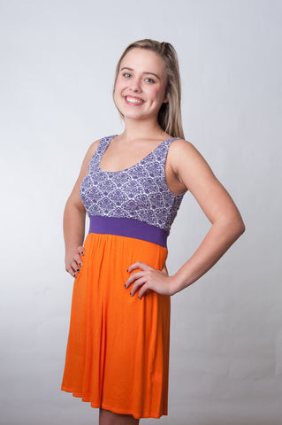 Signature Dress Print - Orange & Purple