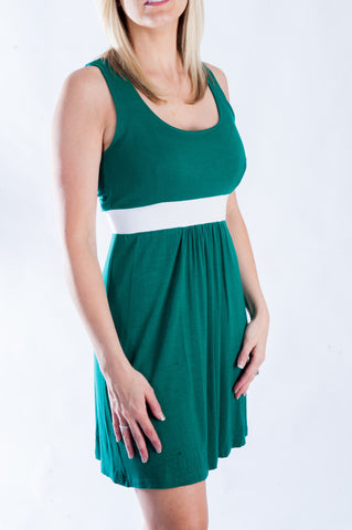 Signature Dress - Green & White