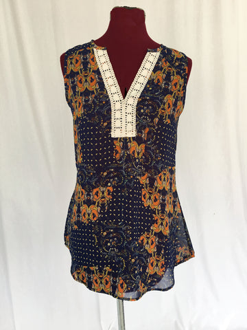 Sleeveless Peasant Top - Navy & Orange