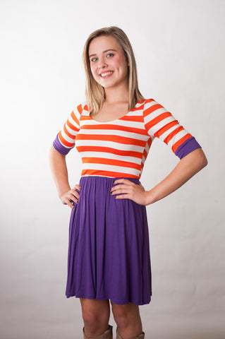 Stadium Striped Dress - Orange & Purple