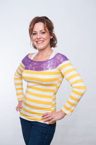 Stadium Striped Top - Purple & Gold
