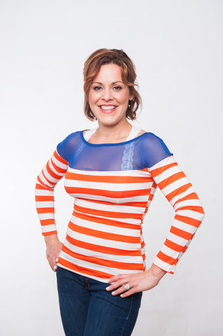 Stadium Striped Top - Royal & Orange