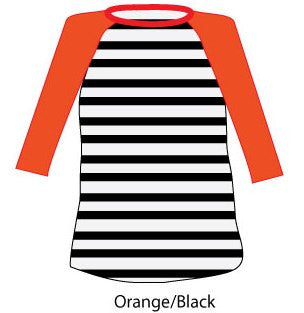 Striped Baseball Tee - Orange & Black