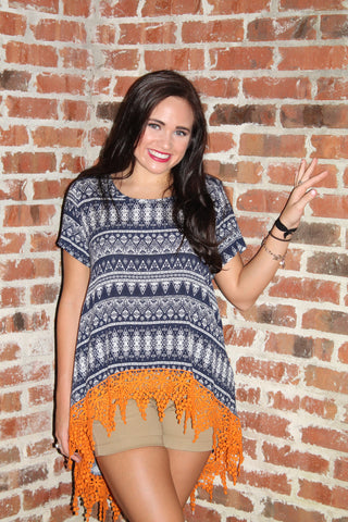 Lace-Up - Navy & Orange Aztec