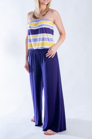 Pants Romper - Purple & Gold
