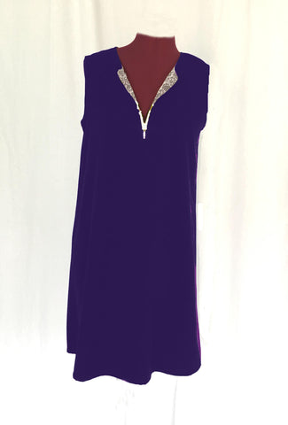 Zipper Dress - Navy & Grey