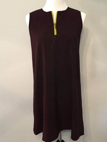 Zipper Dress - Brown & Gold