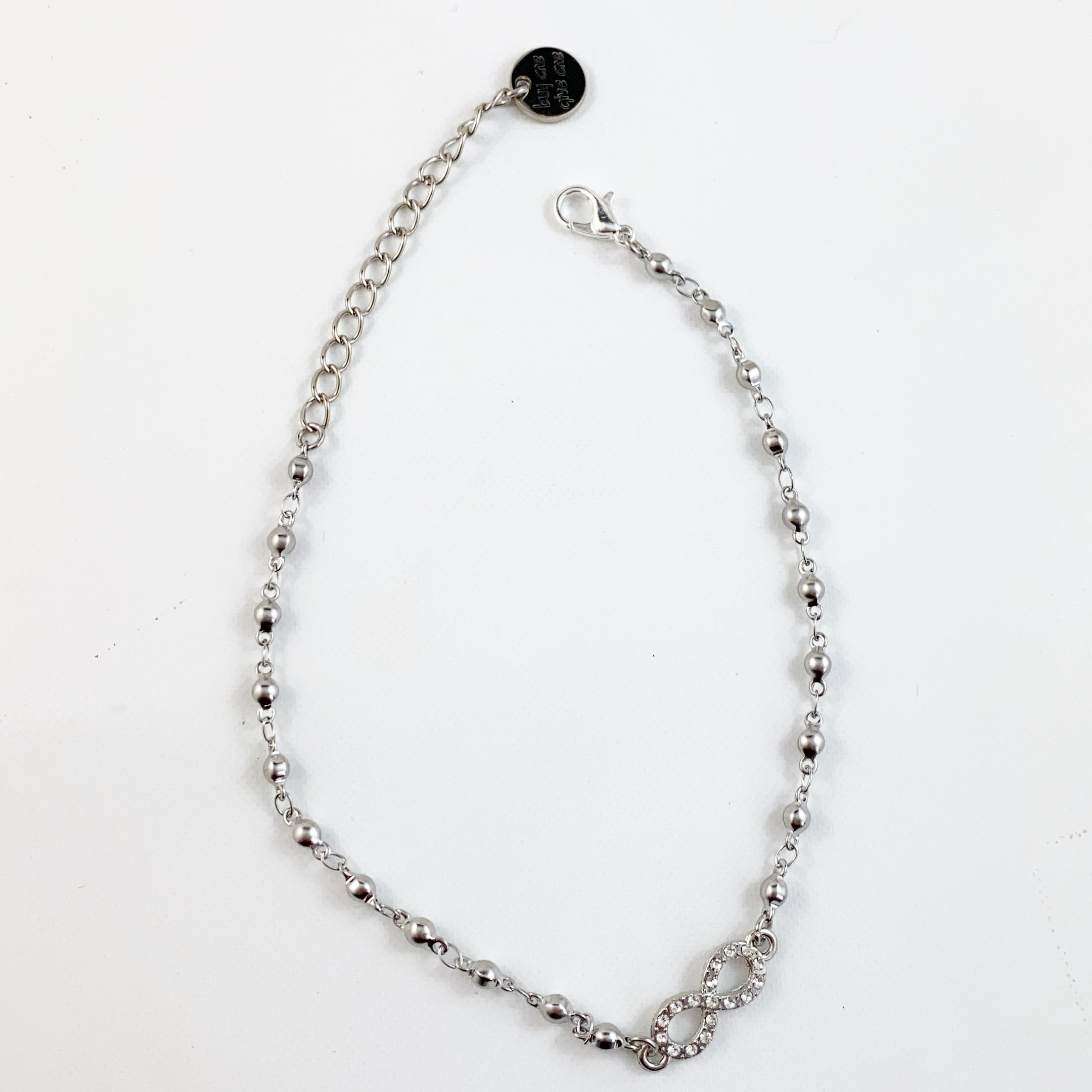 Rhinestone Infinity Silver Anklet