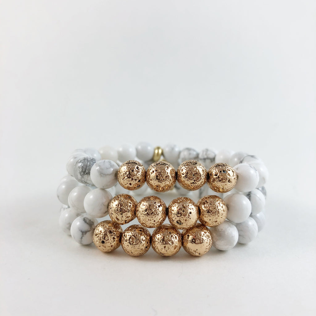Gold Lava and White Howlite Bracelet