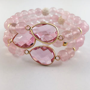 Rose Quartz and Crystal Diffuser Bracelet