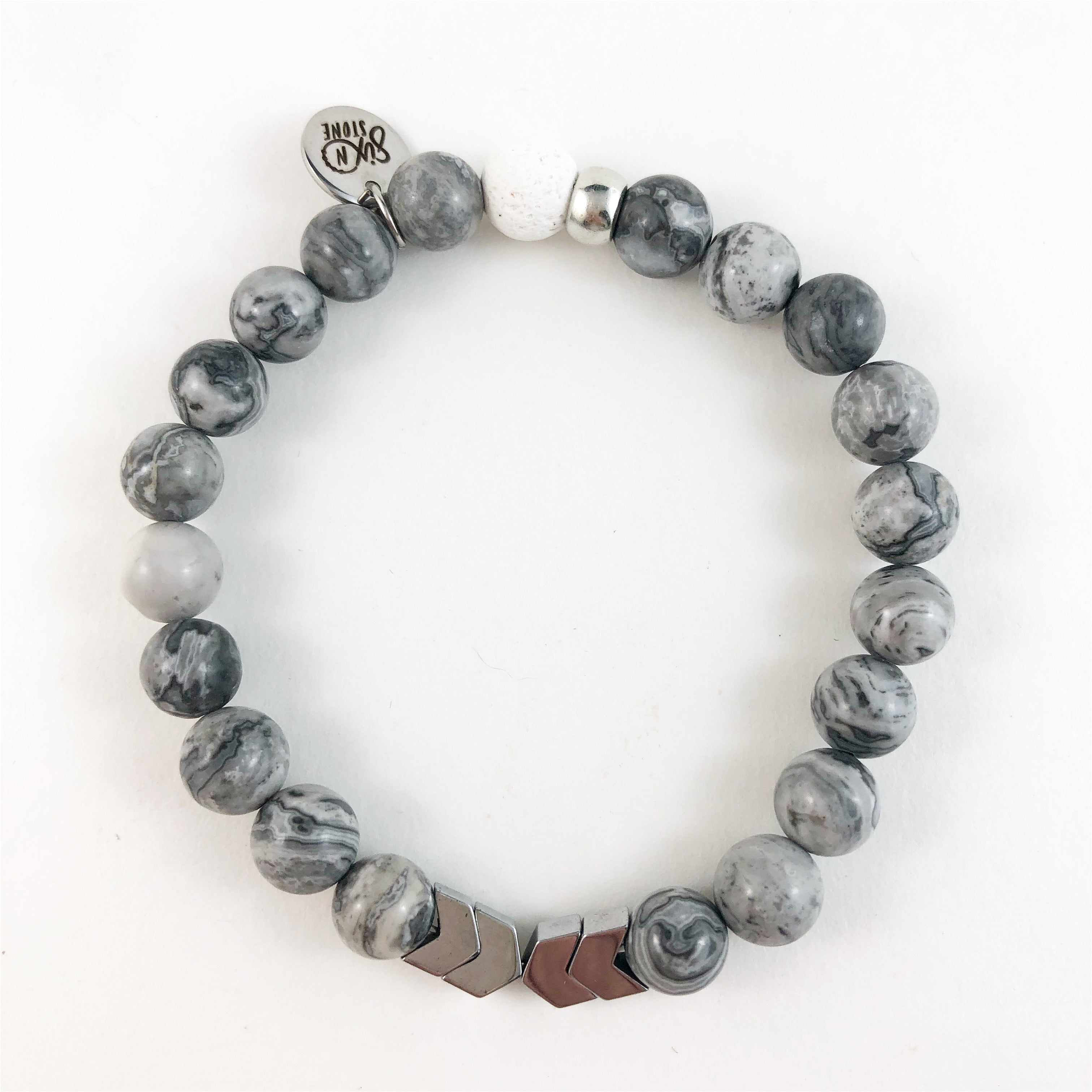Marbled Jasper Stone & Lava Bracelet with Silver Chevron