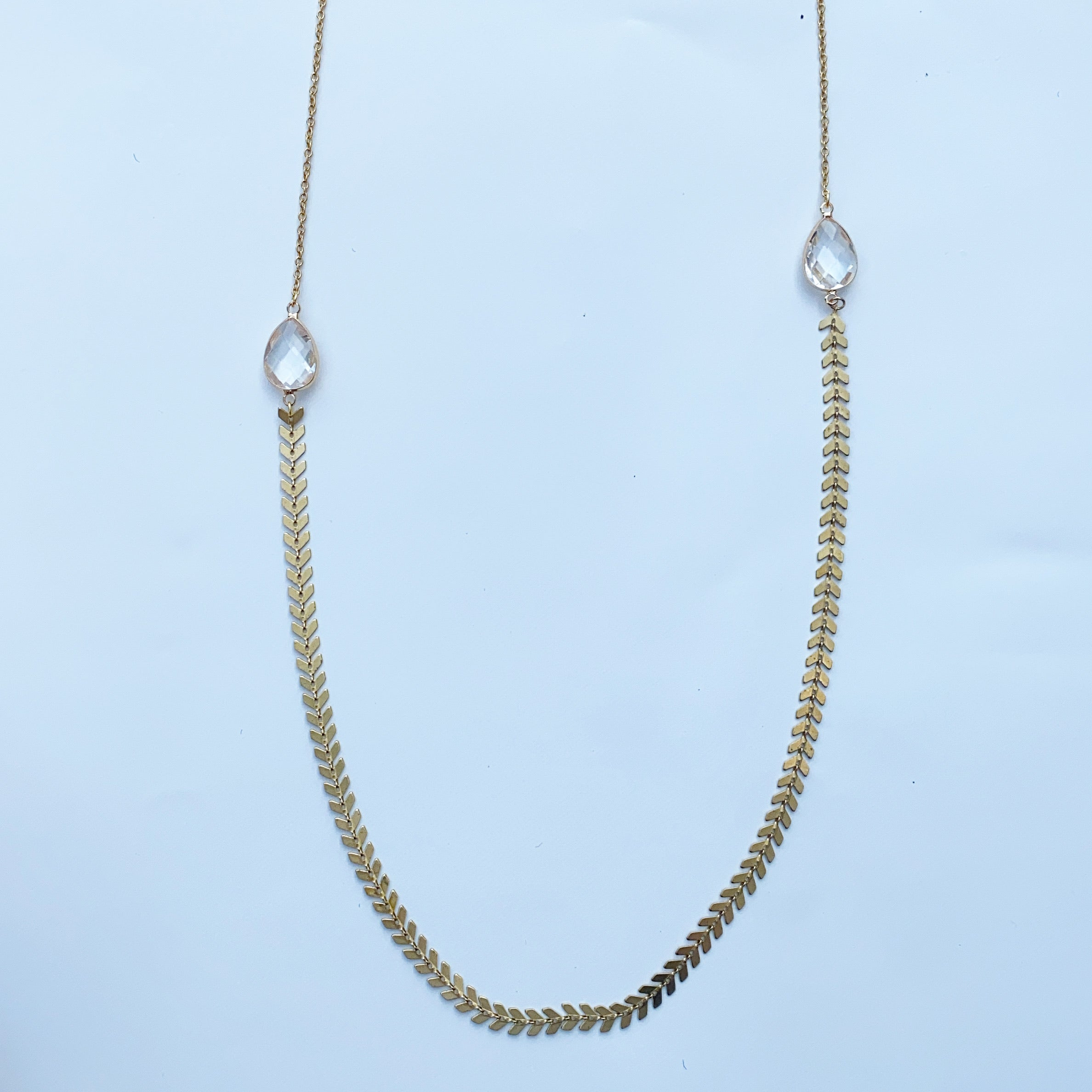 Fishbone and Clear Rhinestone Necklace