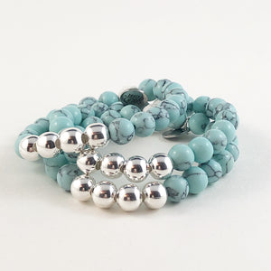 Tiffany Blue Howlite and Silver Bead Bracelet