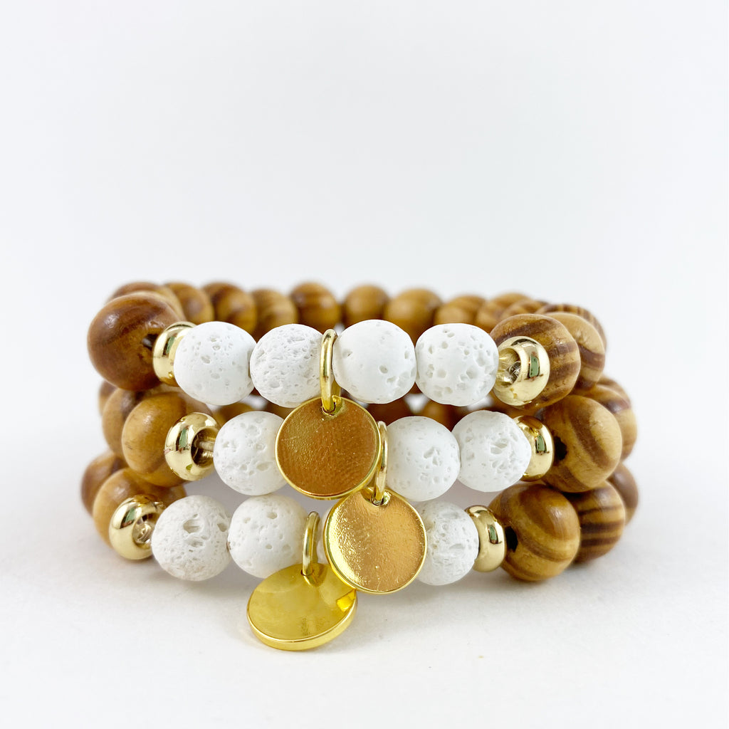 Wooden Diffuser Bracelet in Gold