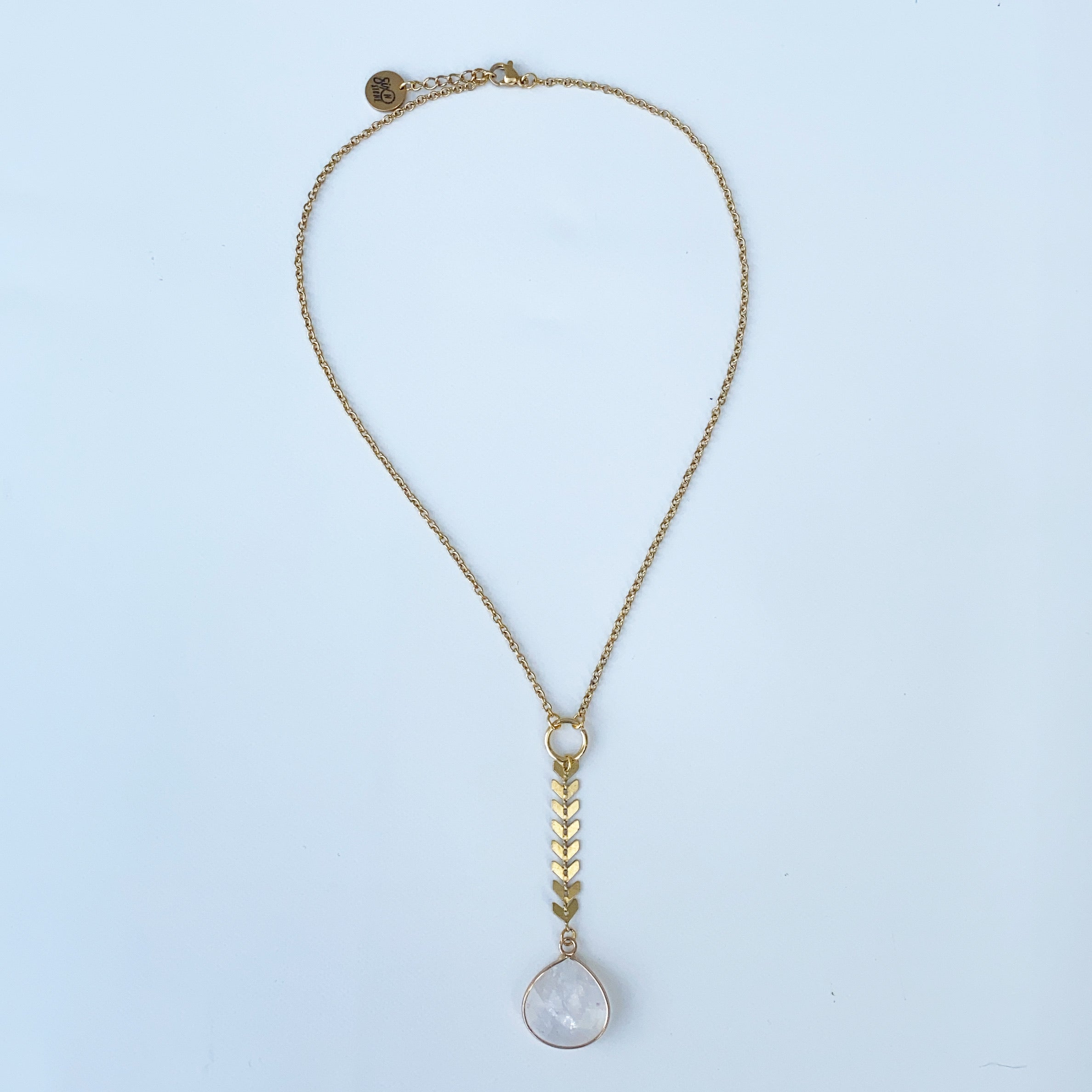 Natural Quartz Drop Lariat with Fishbone Chain