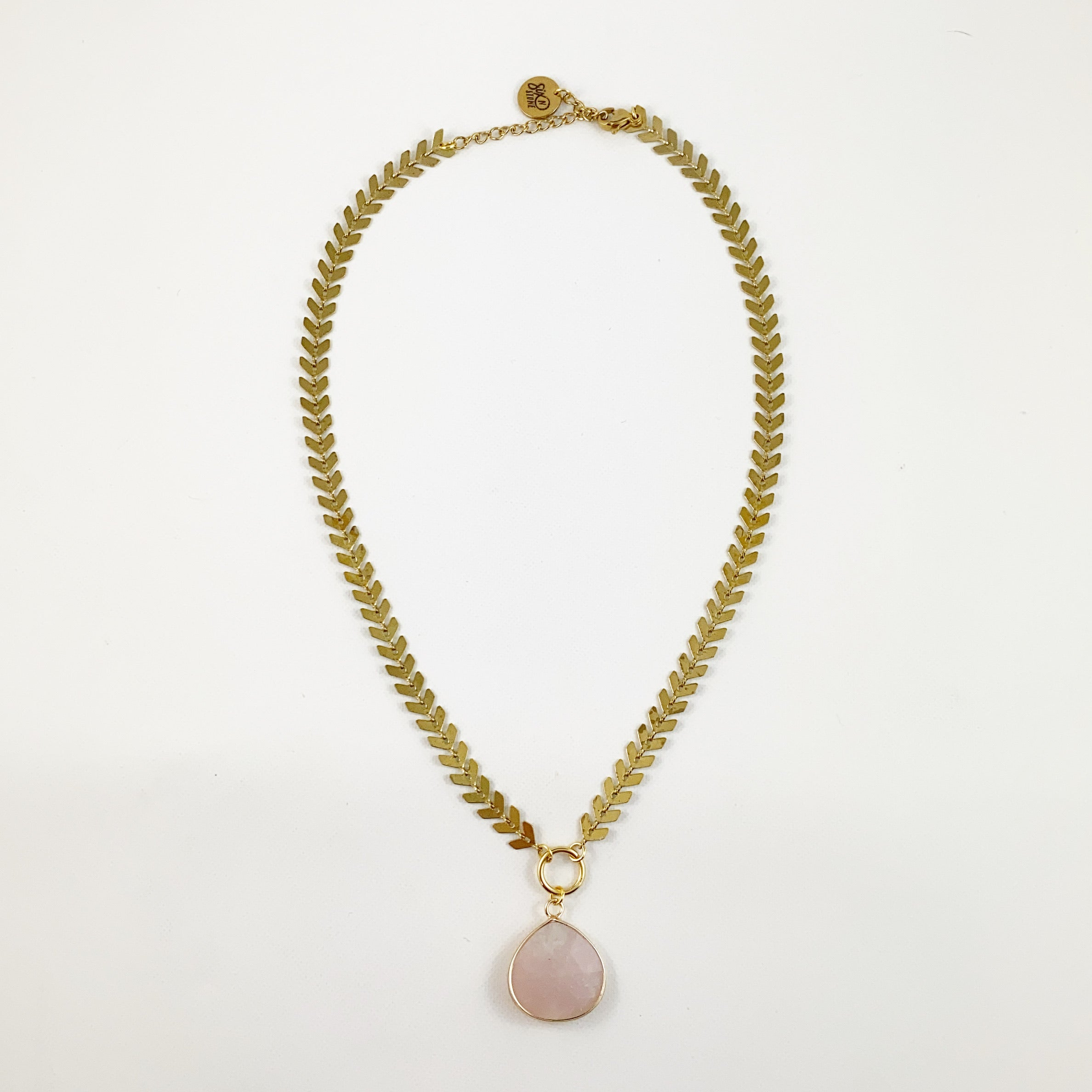 Rose Quartz Drop Fishbone Necklace