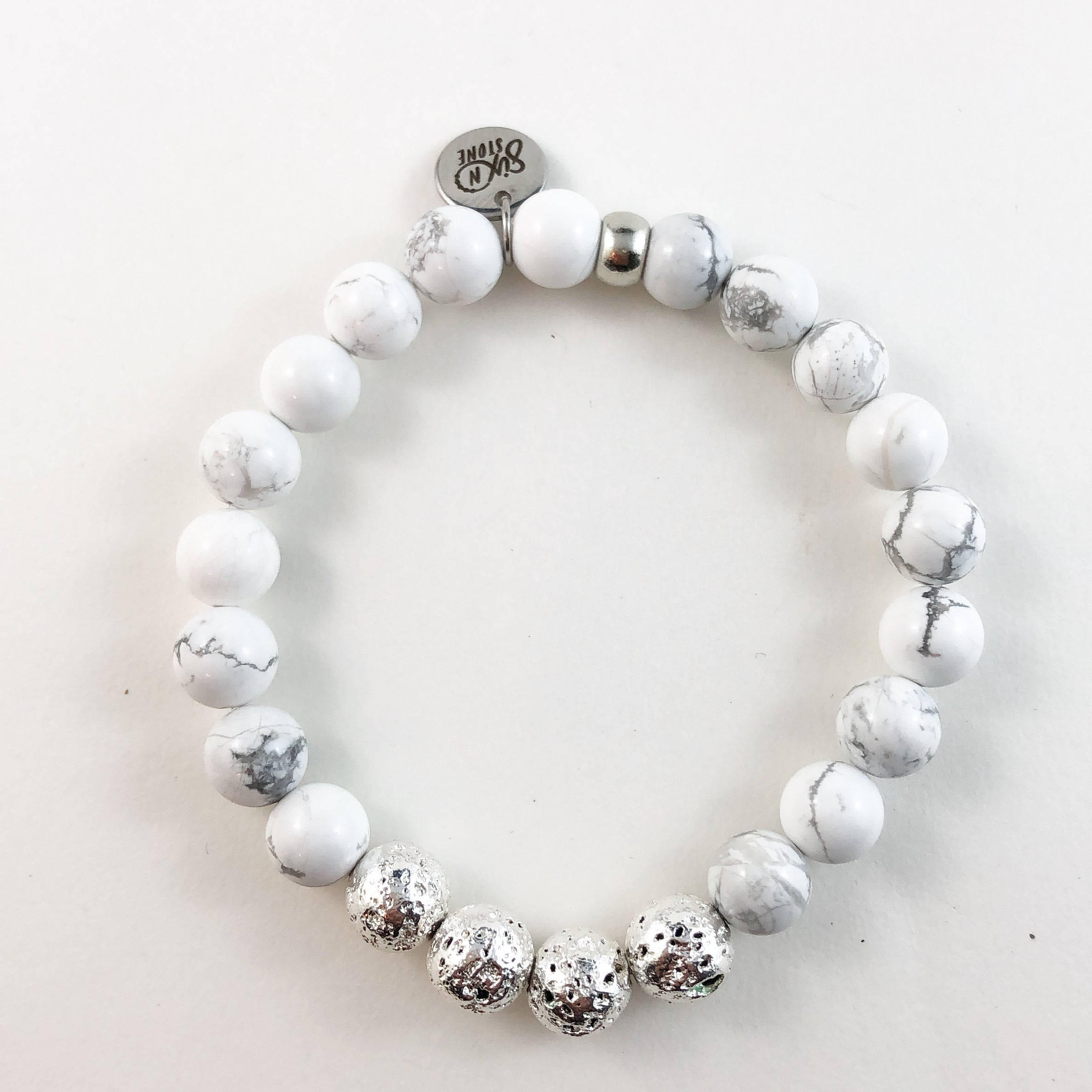 Silver Lava and White Howlite Bracelet