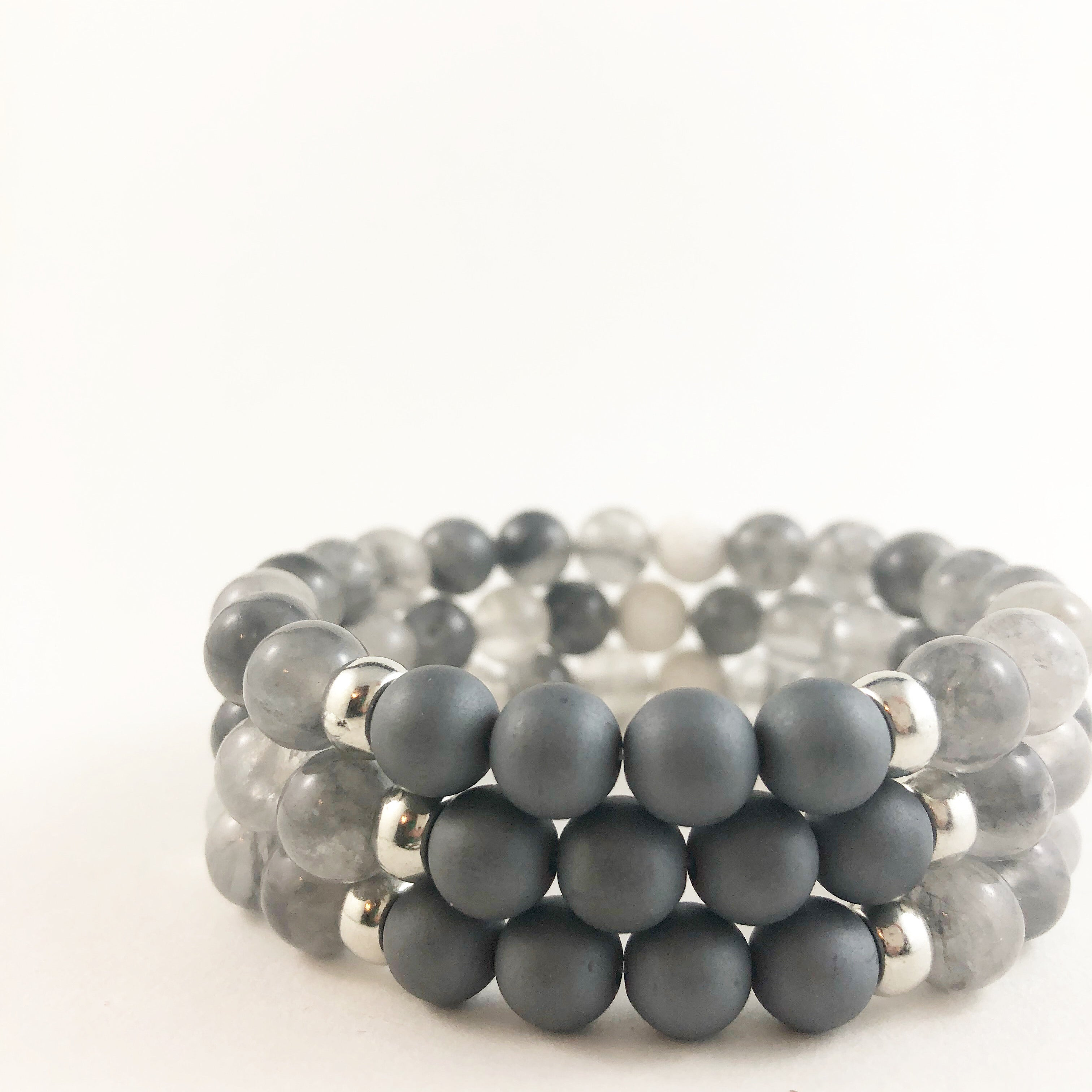 Grey Quartz with Hematite Bracelet