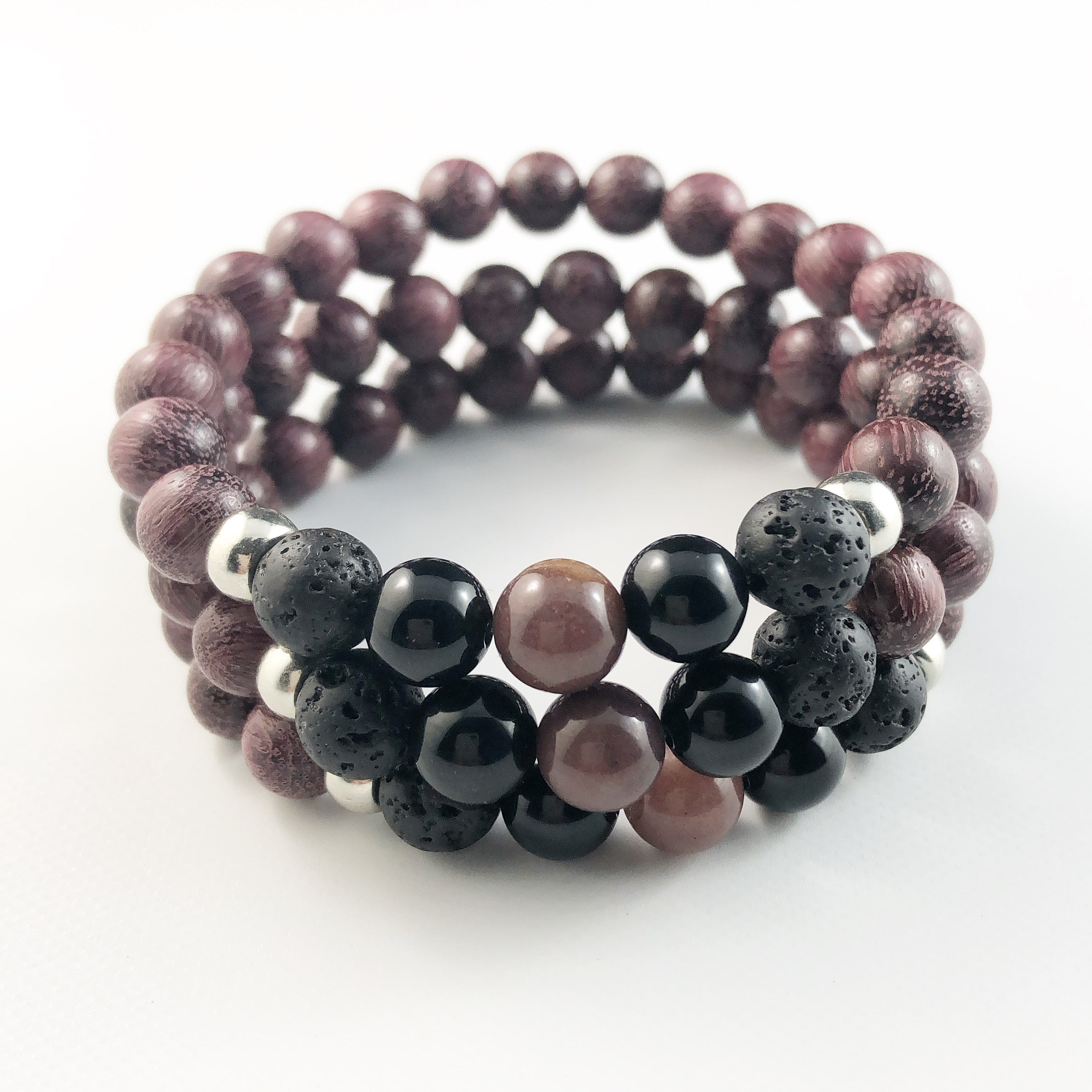 Plum Sandalwood with Silver Accents Bracelet