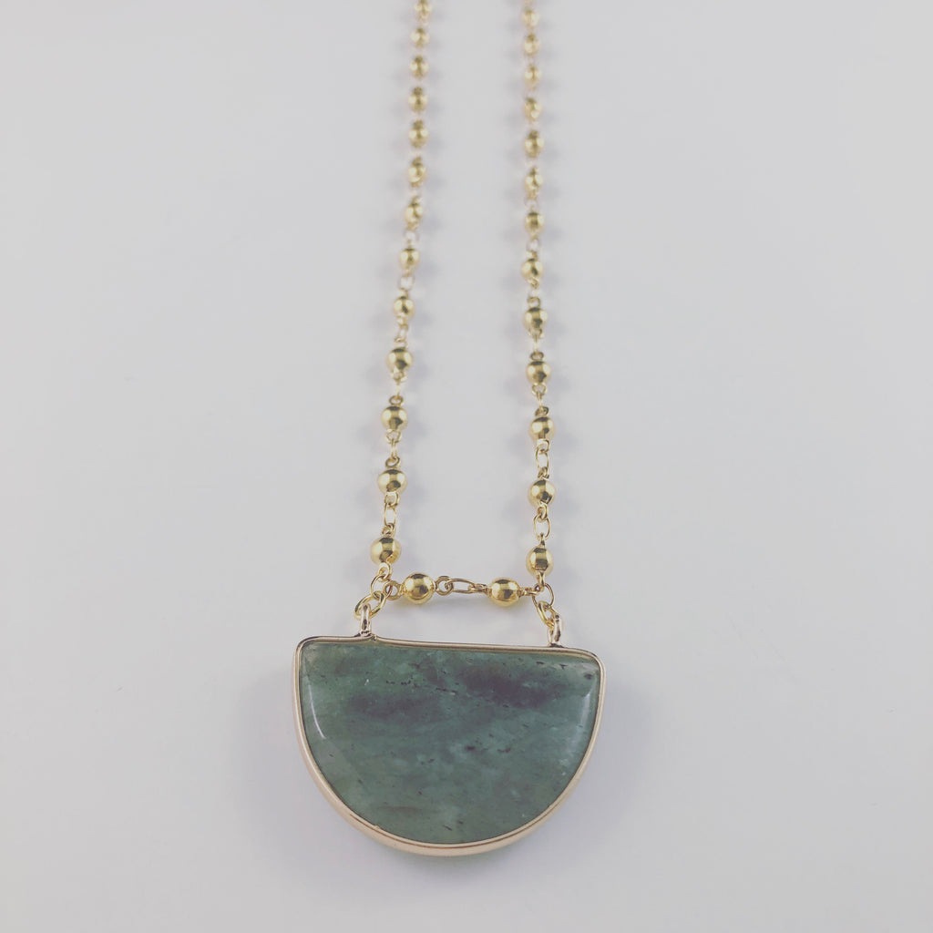 Labradorite Half Moon Pendant Necklace