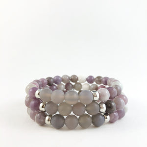 Lilac and Grey Jasper Lava Bracelet with Silver Discs