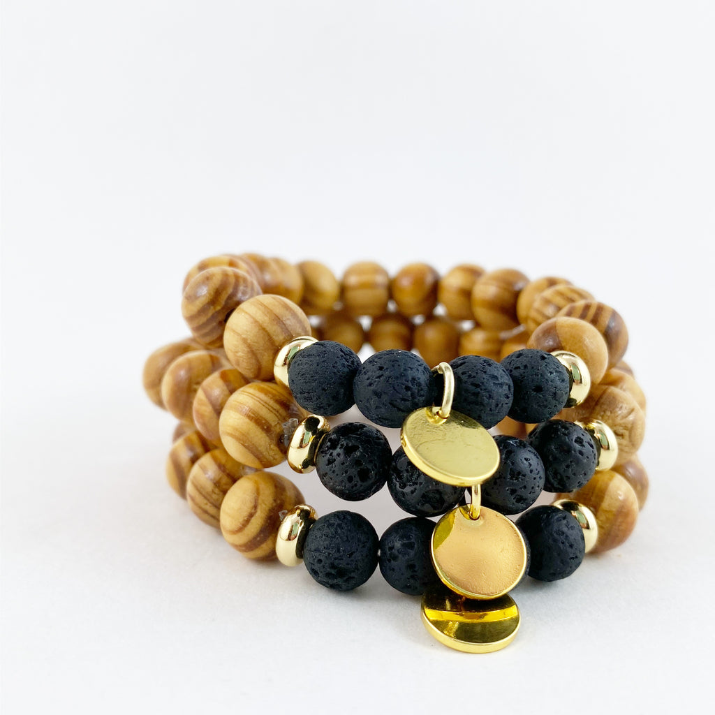 Wooden Diffuser Bracelet in Black and Gold