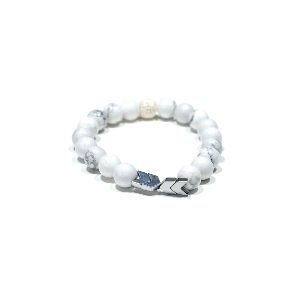 White Marbled Howlite Lava Bracelet with Silver Chevron