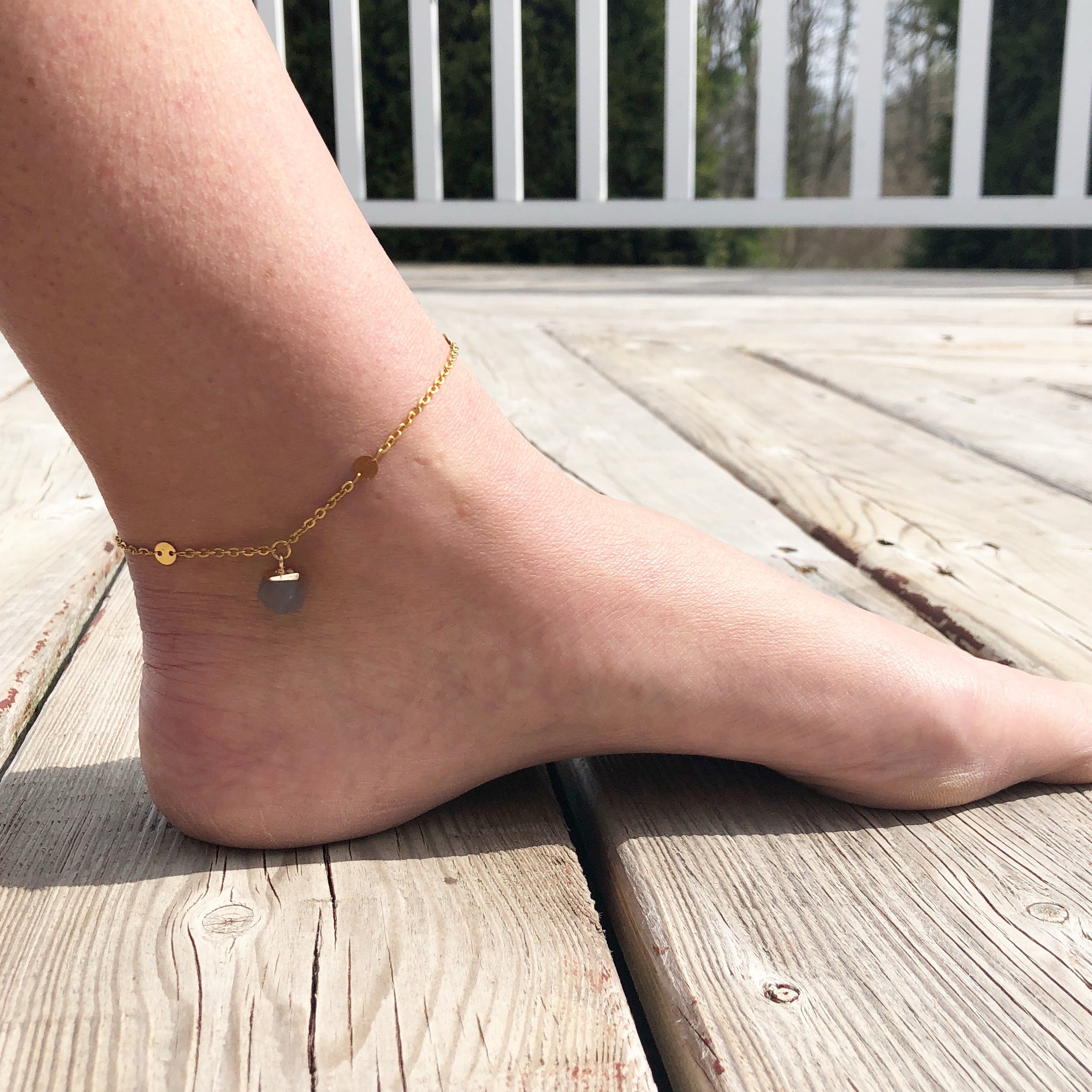 Ruby Zoisite and Gold Anklet