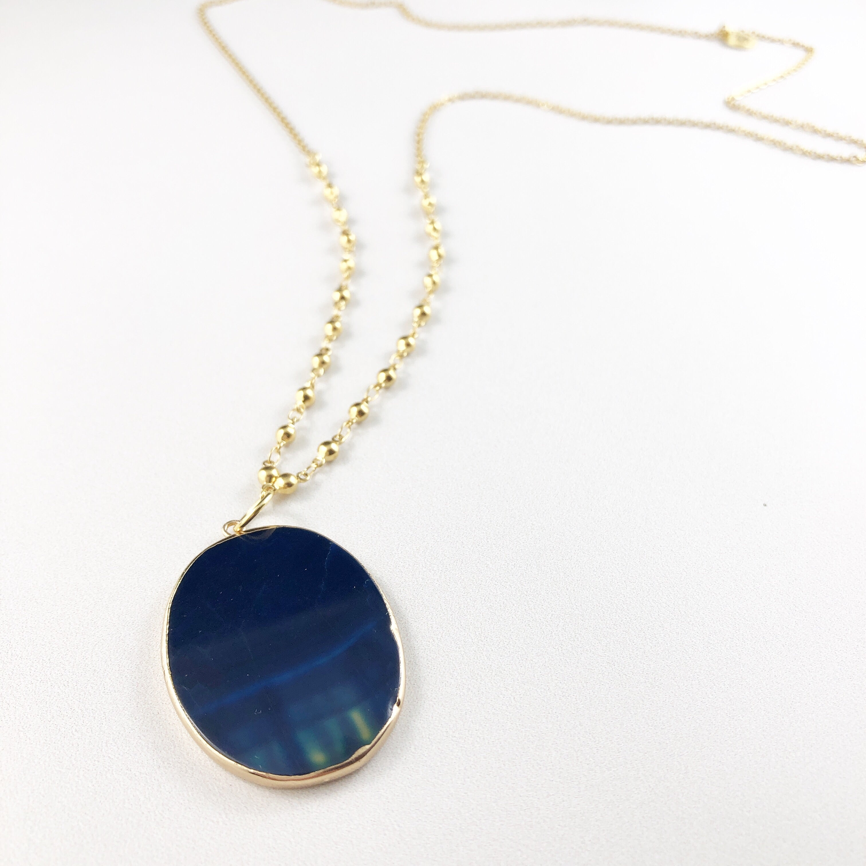 Midnight Blue Agate Stone Pendant Necklace