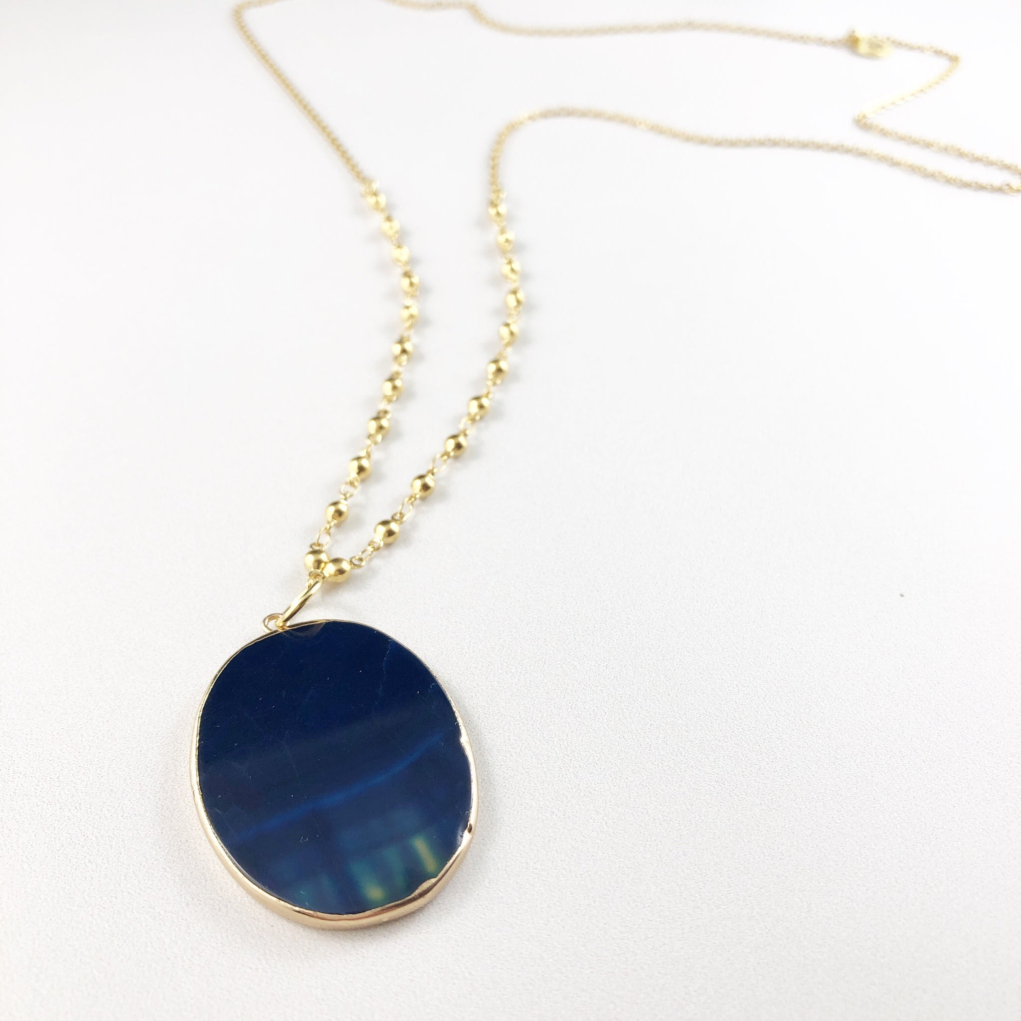Midnight Blue Agate Stone Pendant