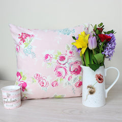 Pink Rose Garden Floral Cushion Cover
