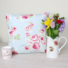 Sky Rose Garden Floral Cushion