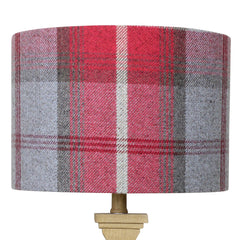 Cherry Balmoral Check Drum Lampshade